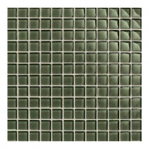 Daltile Maracas Green Leaf 12 in. x 12 in. 8mm Glass Mesh-Mounted Mosaic Wall Tile (10 sq. ft. / case)-DISCONTINUED