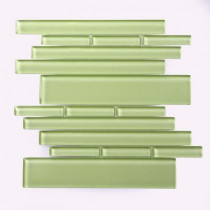 Solistone Piano Glass Tempo 10-1/2 in. x 9-1/2 in. x 7.93 mm Green Glass Mesh-Mounted Mosaic Wall Tile (6.9 sq.ft./case)