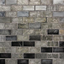 Studio E Edgewater Silverstrand 1 in. x 2 in. 10 5/8 in. x 10 5/8 in. Glass and Slate Floor & Wall Mosaic Tile-DISCONTINUED