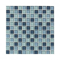 Daltile Glass Reflections Winter Blue 12 in. x 12 in. x 8mm Glass Mesh-Mounted Mosaic Wall Tile (10 sq. ft. / case)-DISCONTINUED