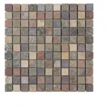 Jeffrey Court Tumbled Mixed Slate 12 in. x 12 x 8 mm Mosaic Floor Wall Tile