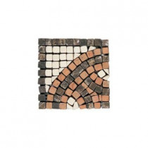 Daltile Travertine Rojo Marfil Emperador 4 in. x 4 in. x 9-1/2 mm Tumbled Slate Serpentine Corner Mosaic Wall Tile