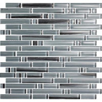 EPOCH Brushstrokes Peltro-1505-S Strips Mosaic Glass Mesh Mounted - 2 in. x 12 in. Tile Sample
