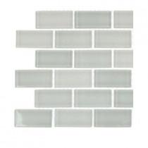 Splashback Tile Cool White Polished 3/4 in. x 1-3/4 in. Glass Tile Sample