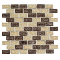 Jeffrey Court Hazelnut Butter Crackle 12 in. x 12 in. x 8 mm Glass Mosaic Wall Tile