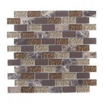 Jeffrey Court Emperador Brick 12 in. x 12 in. x 8 mm Glass Marble Mosaic Wall Tile