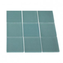 Splashback Tile Contempo Turquoise Frosted 2 x 2 Glass Tiles Tile Sample