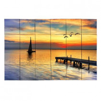 Tile My Style Sailboat 36 in. x 24 in. Tumbled Marble Tiles (6 sq. ft. /case)