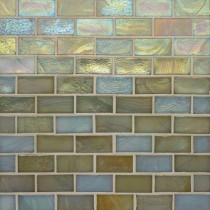 Studio E Edgewater Del Mar 1 in. x 2 in. 10-5/8 in. x 10-5/8 in. Glass Floor & Wall Mosaic Tile-DISCONTINUED