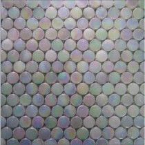 EPOCH Aspen-1470 Penny Round Milk Glass Mesh Mounted Floor and Wall Tile - 3 in. x 3 in. Tile Sample