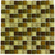 Jeffrey Court Tea Leaf Medley 12 in. x 12 in. x 8 mm Glass Mosaic Wall Tile