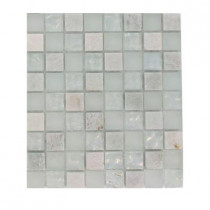 Splashback Tile Emerald Bay Blend Squares 1/2 in. x 1/2 in. Marble And Glass Tiles Squares - 6 in. x 6 in. Floor and Wall Tile Sample