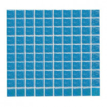 Daltile Sonterra Glass Cancun Blue Iridescent 12 in. x 12 in. x 6 mm Glass Sheet Mounted Mosaic Wall Tile