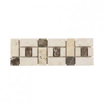 Jeffrey Court Biscotti Creama Emperador 4 in. x 12 in. Marble Travertine Floor Wall Accent