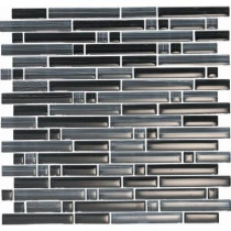 EPOCH Brushstrokes Nero-1501-S Strips Mosaic Glass Mesh Mounted - 2 in. x 12 in. Tile Sample