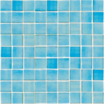 EPOCH Oceanz Caribbean-1701 Recycled Glass Anti Slip 12 in. x 12 in. Mesh Mounted Floor & Wall Tile (5 sq. ft.)