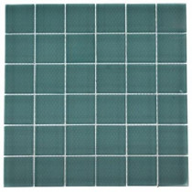 Splashback Tile Contempo Turquoise Frosted 12 in. x 12 in. x 8 mm Glass Mosaic Floor and Wall Tile