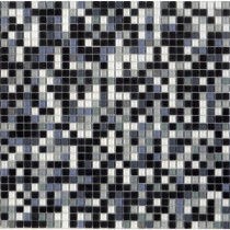 Elementz 12.8 in. x 12.8 in. Venice Black Sky Mix Glossy Glass Tile-DISCONTINUED