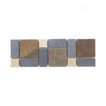 Jeffrey Court Charcoal 4 in. x 12 in. x 8 mm Slate Wall Accent Trim Tile