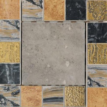 Daltile Terra Antica Celeste/Grigio 6 in. x 6 in. Porcelain Decorative Corner/Insert Accent Floor and Wall Tile