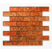 Solistone Folia Glass Tamarind 12 in. x 12 in. Red Mesh-Mounted Mosaic Wall Tile (10 sq. ft./case)