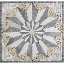 MS International Venti Blend Medallion 12 in. x 12 in. Tumbled Marble Mesh Mounted Mosaic Tile