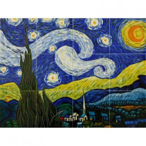 overstockArt Van Gogh, Starry Night Mural 18 in. x 24 in. Wall Tiles