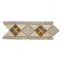 Jeffrey Court Venice 4 in. x 12 in. x 8 mm Glass and Travertine Strip Accent and Trim