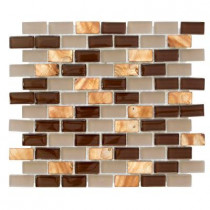 Jeffrey Court Bronze Shell Brick 10.5 in. x 12.5 in. x 8 mm Glass Mosaic Wall Tile