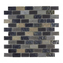Jeffrey Court Midnight Opal Brick 12 in. x 12 in. x 8 mm Glass Slate Mosaic Floor/Wall Tile