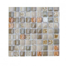 Splashback Tile Aztec Art Flaxseed Glass Tile Sample