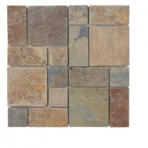 Jeffrey Court Rust Block Medley 12 in. x 12 in.x 8 mm Slate Mosaic Wall Tile