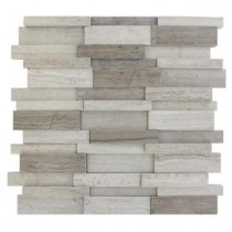 Splashback Tile Dimension 3D Brick Wooden Beige Pattern 12 in. x 12 in. x 8 mm Marble Mosaic Floor and Wall Tile
