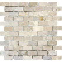 MS International Chiaro Brick 12 in. x 12 in. x 10 mm Tumbled Travertine Mesh-Mounted Mosaic Tile