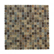 Jeffrey Court 12 in. x 12 in. Toffee Slate Glass Mosaic Tile-DISCONTINUED