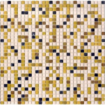 Elementz 12.8 in. x 12.8 in. Venice Golden Sand Mix Frosted Glass Tile-DISCONTINUED