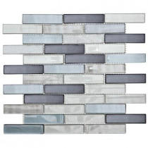 Jeffrey Court Sterling Silver 12 in. x 13.75 in. x 8 mm Glass Mosaic Wall Tile