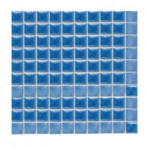 Daltile Sonterra Glass Medium Blue Iridescent 12 in. x 12 in. x 6 mm Glass Sheet Mounted Mosaic Wall Tile