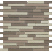 EPOCH Color Blends Arena Neblina Matte Strips Mosaic Glass Mesh Mounted Tile - 4 in. x 4 in. Tile Sample-DISCONTINUED