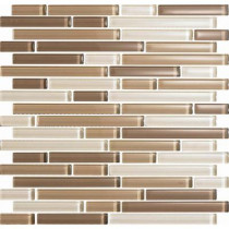 EPOCH Color Blends Arena-1605 S Gloss Strips Mosaic Glass Mesh Mounted Tile - 4 in. x 4 in. Tile Sample-DISCONTINUED
