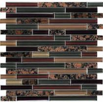 Epoch Architectural Surfaces Spectrum Baltic Brown-1660 Granite And Glass Blend Mesh Mounted Floor and Wall Tile - 2 in. x 12 in. Tile Sample