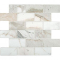 MS International Calacatta Gold 12 in. x 12 in. Polished Marble Mesh-Mounted Mosaic Tile
