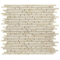 Jeffrey Court Egyptian Forest Mini Pencil 12 in. x 12 in. x 8 mm Marble Mosaic Wall Tile