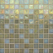 Studio E Edgewater Del Mar 1 in. x 1 in. 11-3/4 in. x 11-3/4 in. Glass Floor & Wall Mosaic Tile-DISCONTINUED