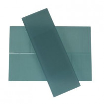 Splashback Tile Contempo 4 in. x 12 in. x 8 mm Blue Gray Frosted Glass Floor and Wall Tile