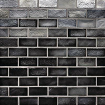 Studio E Edgewater Black Sand 1 in. x 2 in. 10-5/8 in. x 10-5/8 in. Glass Floor & Wall Mosaic Tile-DISCONTINUED