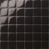Elementz 12.5 in. x 12.5 in. Capri Nero Glossy Glass Tile-DISCONTINUED
