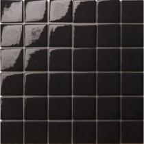 Elementz 12.5 in. x 12.5 in. Capri Nero Glossy Glass Tile-DISCONTINUED