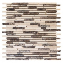 Jeffrey Court English Stone Emperador 11 in. x 12.25 in. x 8 mm Travertine and Marble Mosaic Wall Tile