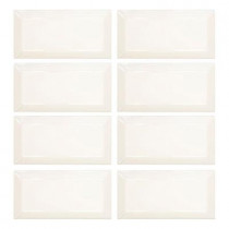 Jeffrey Court Pearl White Beveled 3 in. x 6 in. Ceramic Wall Tile
